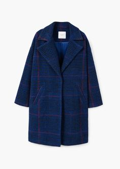 Checkered wool-blend coat - f foCoats Woman | MANGO Slovakia