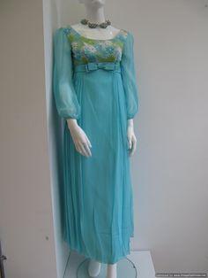 1960's Empire line aquamarine vintage evening gown.