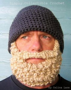 crocheted hat with beard pattern