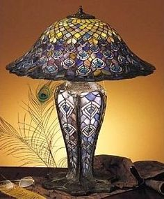 Tiffany Peacock Feather Lighted Base Table Lamp.