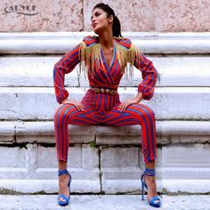 1545804f0cf Adyce 2018 New Runway Fringe Jumpsuits Bodysuit Women Celebrity Party  Jumpsuit Long Sleeve Red Blue Striped