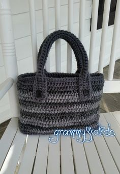 Red Heart Soft Essentials in charcoal & cobblestone stripe. Made by JoAnne of GrammyJo Lids.