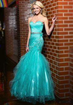 Splash Dress JC121 long blue (sea foam) mermaid prom dress with silver accents