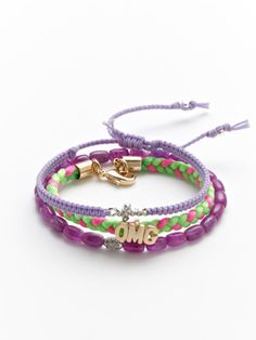 Tai Jewelry OMG Purple Friendship Bracelets for kids