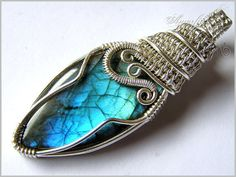 Blue labradorite and sterling silver wire wrapped by amorfia, $130.00
