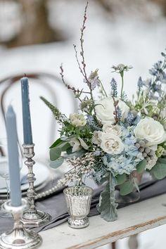 Blue Wedding Decorations, Blue Wedding Centerpieces, Wedding Bouquets, Ceremony Decorations, Centerpiece Ideas, Centerpiece Flowers, Blue Hydrangea Centerpieces, Winter Centerpieces, Purple Bouquets