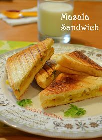 Tasty Appetite: How to make Grilled Masala Sandwich / Indian Style Sandwich / Easy Sandwich Recipes Grilled Sandwich Recipe, Veg Sandwich, Healthy Sandwich Recipes, Healthy Sandwiches, Delicious Sandwiches, Veggie Recipes, Indian Food Recipes, Cooking Recipes, Indian Sandwich Recipes