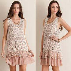 Crochet Overlay Ruffle Swing Dress Crochet overlay ruffle bottom swing dress. Runs half a size loose. Only available in taupe color. Brand new. NO TRADES DON'T ASK. Bare Anthology Dresses Mini