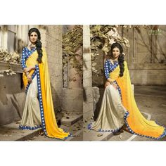 Gorgeous work wear yellow and cream printed saree
