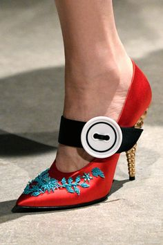 Prada | The satin, embellished pumps at Prada added the perfect hint of nostalgia. - HarpersBAZAAR.com