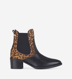 Nouveau Femmes Bottines Chelsea à Enfiler Décontracté Haut Bloc Chaussures Cloutées FAUX LEA