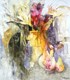 """Pink Pears, Red Flowers"" by Shirley Trevena"