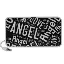 Angel Love, White on Black Laptop Speaker http://www.zazzle.com/angel_love_dove_white_on_black_laptop_speaker-166052141352111220?rf=238290304201005220&tc=pifa #angels