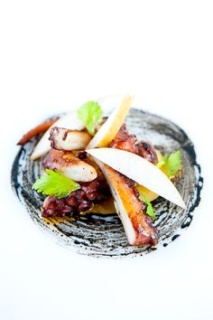 Octopus a la plancha with Garlic Purée & Miso-Squid Ink Sauce | Zen Can Cook
