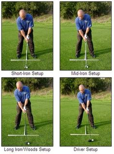 Putting it all together: good setup positions with different-length clubs.