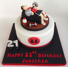Working out themed cake - Cake by Cupcake-Heaven Butterfly Birthday Cakes, 25th Birthday Cakes, Birthday Cake For Husband, 21st Cake, Cake Designs For Boy, Cake Design For Men, Teen Boy Cakes, Fitness Cake, Gym Cake