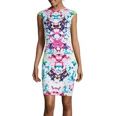 Bisou Bisou® Cap-Sleeve Print Laser Cut Sheath Dress - JCPenney