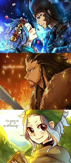 Gajeel, Levy, couple, blue fire, flower crown, Dragon Slayer, King Under the Mountain, text, The Hobbit, crossover, I'm going on an adventure; Fairy Tail
