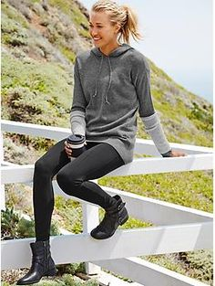 I live in Athleta oversized sweaters and leggings. I love the booties too. Merino Nopa Hooded Sweater | Athleta