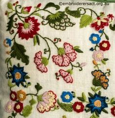 Detail 1 from Crewel Smithsonian Cushion stitched by Lorna Loveland