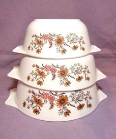 Pyrex England Casserole Dish, Baking Dish, Country Autumn, Ovenware, Nesting Bowl, Cinderella Bowl, Mixing Bowls, Floral Flowers Bakeware,