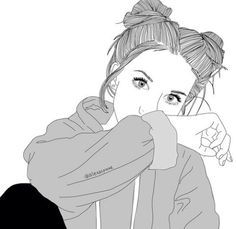 Image via We Heart It #art #blackandwhite #bun #girl #grey #grunge #indie