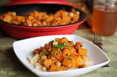 Moroccan Butternut Squash and Sweet Potato Tagine with lots of warm spices like ginger and cinnamon.