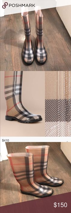 Burberry - House Check Print Rainboots Authentic Burberry Rainboots! House Check print! Size 39. Fits a size 9. Great condition! Only worn a few times. Burberry Shoes Winter & Rain Boots