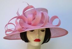 """Putting on the Pink for the Oaks Race in Kentucky in a Pale Pink 5"""" Derby Hat by HAT-A-TUDE.COM"""