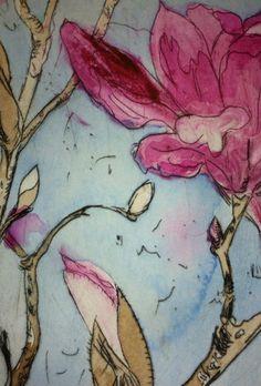 Armidale magnolia II (ii) Drypoint etching by Lizzie Horne