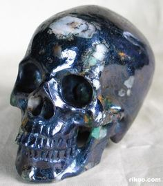 Montana Covellite Carved Crystal Skull from Rikoo com
