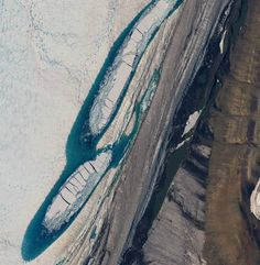provided by NGA Commercial Imagery Prgrm.The George VI ice shelf is home to a set of teardrop shaped lakes that move up to 5 feet per day. Researchers have discovered why; viscous buckling, which can be related to how syrup moves, is responsible.