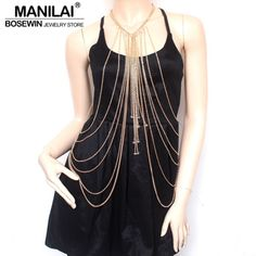 MANILAI Fashion Gold Color Long Chain Necklace Women Crystal Bead Tassel Necklaces & Pendants Sexy Collares Statement Jewelry
