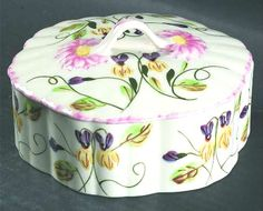 Vintage Dogtooth Violet Pattern Blue Ridge Southern Potteries Covered Candy Box | eBay