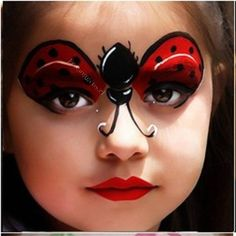 Ladybug Face Paint, Cool Face Painting Ideas For Kids… Girl Face Painting, Painting For Kids, Body Painting, Face Paintings, Ladybug Face Paint, Tinta Facial, Kids Makeup, Makeup Ideas, Cool Face