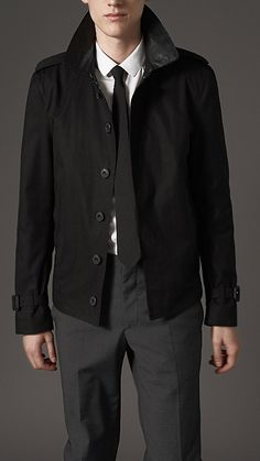 Burberry London Leather Jacket with Buckled Throat Latch