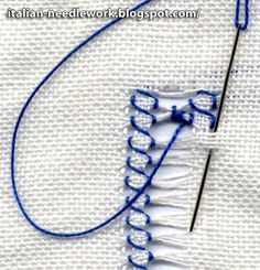 Italian Needlework: Gigliuccio Hemstitch - How to Embroidery Tools, Hardanger Embroidery, Embroidery Techniques, Embroidery Applique, Cross Stitch Embroidery, Needlepoint Stitches, Needlework, Bordado Tipo Chicken Scratch, Hem Stitch