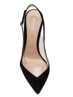 """Gianvito Rossi - Spring 2014 - slingback kitten heel - Black suede slingback kitten heel from Gianvito Rossi featuring a pointed toe, an ankle strap with a side buckle fastening and a 4"""" stiletto heel."""