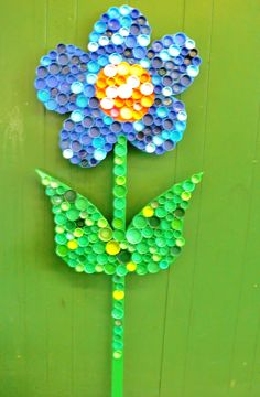 Outdoor Wooden Garden Flower~Painted flower, attached recylced plastic bottle caps