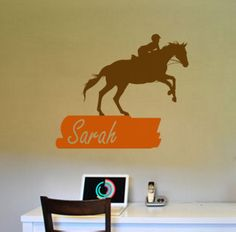 A nice personalized decal for any horse person. The decal measures 30 X 35 inches when assembled as shown. You can choose the color for the horse