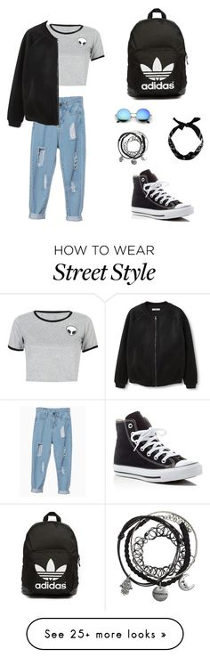 """""""Street dark style"""" by abbymouse7 on Polyvore featuring WithChic, New Look, MANGO, Converse and adidas Originals"""