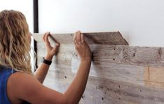 DIY Reclaimed Barn Wood Wall: Just peel and stick to apply!
