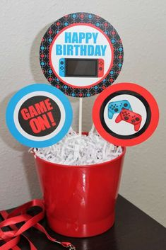 Nintendo Switch Video Game Truck Party | CatchMyParty.com #HostessGamesOnline #VideoGameShelf Happy Birthday Games, Happy Birthday Banners, Birthday Parties, 9th Birthday, Birthday Cupcakes, Video Game Shelf, Video Game Party, Video Games, Game Truck Party