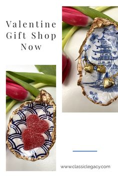 "The Classic Legacy oyster shell dishes make a wonderful Valentine gift. Designs featured here include the blue and white Chinoiserie temple art as well as the blue and white wave ""Seigaiha"" pattern. The oyster shell dishes are perfect to hold jewelry as well as small candy. Each is handmade in the Classic Legacy studio. Willow Pattern, Oyster Shells, Gold Gilding, Ring Dish, Craft Box, White Ribbon, Nature Crafts, White Decor, Hostess Gifts"