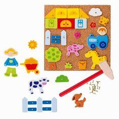Sur le thème de la ferme, ce set de petits clous, pièces et marteau comprend 52 éléments pour créer de très jolis tableaux sur une plaque de liège de la marque Goki. A partir de 3 ans+