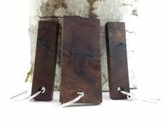 Black Walnut Wood Jewelry Set Earrings Pendant by MackeyArtistry
