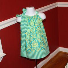 So cute, just an idea for you!!!    damask Pillowcase dress Michael Miller green sorbet toddler girls Easter dresses. $19.99, via Etsy.