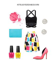 OUTFIT OF THE DAY: MULTICOLOUR GEOMETRIC PRINT FLARE SKIRT & BLACK CRISS CROSS CROP TOP
