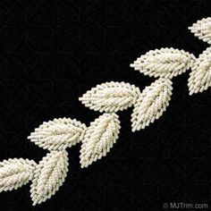 This gorgeous Bugle and Seed Beaded Leaf Trim has a detailed design that will give your old wardrobe a refreshing new look. Pearl Embroidery, Tambour Embroidery, Couture Embroidery, Embroidery Suits, Hand Embroidery Designs, Embroidery Applique, Embroidery Stitches, Embroidery Patterns, Tambour Beading