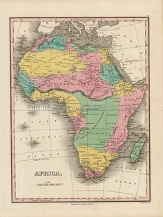 africa continent old map finley 1824 digital image scan download